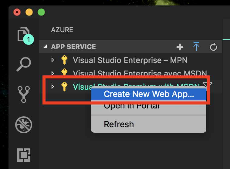 visual studio code app service